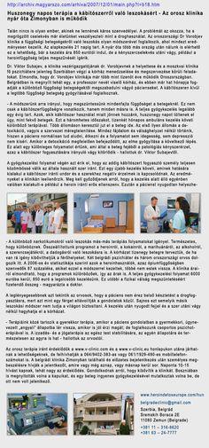 Kábítószer függőség kezelése - http://www.heroindetoxeurope.com/hun/