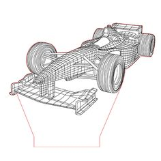 Formula one 3d illusion lamp vector file for CNC - 3bee-studio