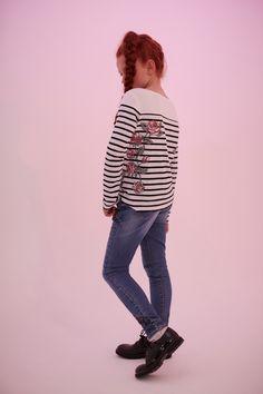 IKKS a 30 ans ! Marinière et jean à patchs IKKS Junior #girlstyle #fw17
