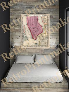 Plan of Manhattan New York City from Mitchells by RetroPrintmaker