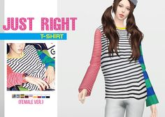 Just Right T-Shirt (Female Ver.)  • New mesh / EA mesh edit  • Category: top (women)  • Age: teen / young adult / adult / elder  • 9 swatches  • Note: male ver. (original)  • Suggested by anonymous and @cxdexmaker  Download: SimFileShare