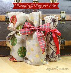 Burlap wine bags - easy tutorial