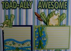 frog scapbook layouts | This auction consists of two scrapbook pages. There's a left page and ...