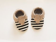 Baby Moccasins- Black and White Stripe & Taupe Leather