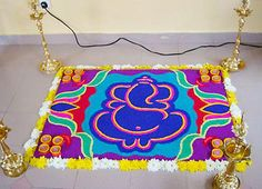 Presenting here the beautiful collection of Ganesh Chaturthi Rangoli designs you can opt this year. Ganesh Chaturthi, the most popular . Rangoli Colours, Rangoli Patterns, Colorful Rangoli Designs, Rangoli Ideas, Rangoli Designs Diwali, Ganesha Rangoli, Diwali Rangoli, Diwali Craft, Easy Rangoli