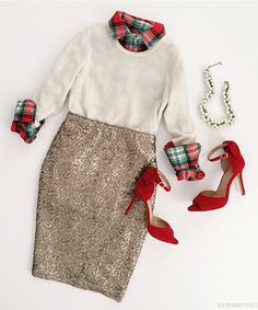 Holiday outfit - Cashmere top, plaid shirt, sequin skirt and red heels.
