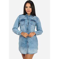 Denim Shirt Dress Tunic with Pockets ($30) ❤ liked on Polyvore featuring tops, tunics, denim tunics, denim top, pocket tops, blue tunic and pocket tunic