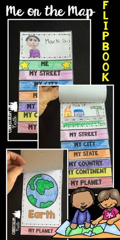 Me on the Map flipbook! Map skills activities. Perfect for 1st, 2nd and 3rd grade!                                                                                                                                                     More