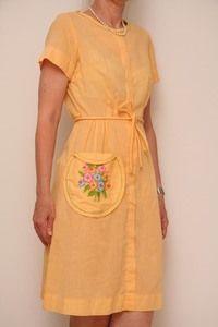 Yellow Swirl 50s dress. Vintagefashion.dk