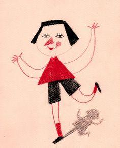 Standing on One Leg / ORIGINAL ILLUSTRATION / Children von Tosya, $35,00