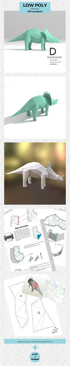 Printable DIY template PDF. Donkey low poly paper model. 3D #low #poly #paper #models #papercraft #3d #art #sculpture #origami #DIY #dinosaur #monster