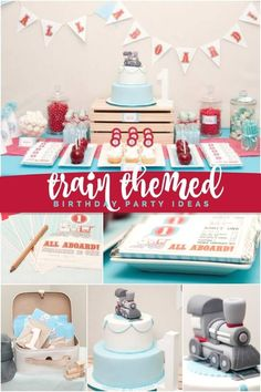 This Train Themed Birthday Party is the perfect celebration for a train enthusiast! Trains Birthday Party, Baby Boy Birthday, Boy Birthday Parties, 2nd Birthday, Birthday Ideas, Themed Parties, Birthday Celebrations, Train Party Decorations, Kids Party Themes