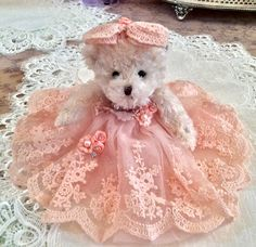 "Peaches Victorian Teddy Bear Approx 9"" has hair bow with roses and dress made of lace and tull and embellished with satin roses, pearls and rhinestones Clothes do not come off Bear and clothing are bo"