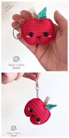 amigurumi amigurumi keychain Crochet Mini Apple Keychain Am Crochet Keychain Pattern, Crochet Amigurumi Free Patterns, Crochet Yarn, Crochet Toys, Fruits En Crochet, Crochet Kawaii, Crochet Apple, Crochet Accessories, Crochet Projects