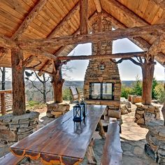 Log Cabin Kitchens Patio Design Ideas, Pictures, Remodel and Decor Outdoor Areas, Outdoor Rooms, Outdoor Dining, Outdoor Photos, Dining Area, Kitchen Dining, Outdoor Decor, Outdoor Pavillion, Backyard Pavilion