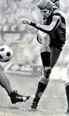 Giacinto Facchetti Ambrosiana Inter Milano Stadio Giuseppe Meazza - Artwork by artist Andrea Del Pesco Oil painting on canvas, size cm. 60x100