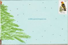 Easy pine tree decorated envelope - mail art