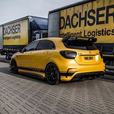 Any one for bananas amg  Mercedes A Class, New Mercedes, Mercedes A45 Amg, New Ferrari, Hatchback Cars, Jeep Cars, Sport Cars, Luxury Cars, Dream Cars