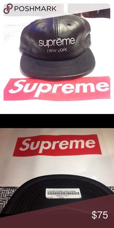 Leather classic logo 6 panel hat Never worn Supreme leather logo hat. Original tags on and authentic supreme product. Supreme Accessories Hats