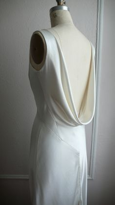 "1930's Inspired Bias Bridal Gown ""Ella"", Low back, Backless, Cowl neck, Heavy Silk Satin"