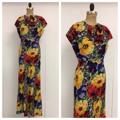 1930s Floral Gown Dress 30s by LostnFoundVintage on Etsy, $250.00