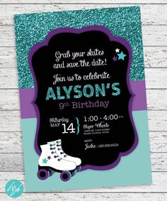 Rollerskate Party Invitation , Roller-skate Birthday, Roller Skating Party, Sparkle - Glitter Skating Invitation DIGITAL PRINTABLE FILE by FlairandPaper on Etsy