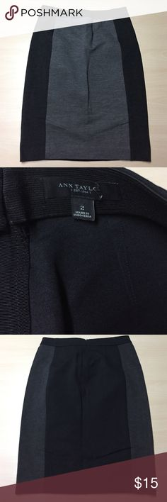 """Ann Taylor Grey Color Block Ponte Knit Skirt - 2 Ann Taylor Grey Color Block Ponte Knit Skirt - 2 / cute, casual and stretchy! Dress up for work or dress down to run errands. Waist :14""""  / hips: 17"""" / length: 22"""" Ann Taylor Skirts Pencil"""
