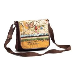 """Demdaco Kelly Rae Roberts Fashion Follow Your True North Cross Body Purse (Messenger Bag) - Follow your true north. 53"""" adjustable strap. Includes 2 pockets and one zipper pocket inside."""