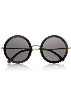 Leather-trimmed round-frame acetate and metal sunglasses