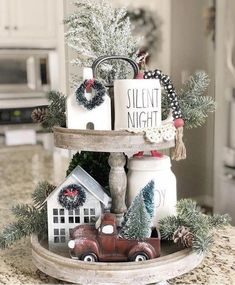 tiered tray decor ideas farmhouse little red truck rae dunn christmas farmhouse decor Tiered Tray Decor Ideas: Farmhouse Style Decoration Christmas, Farmhouse Christmas Decor, Noel Christmas, Rustic Christmas, Xmas Decorations, Christmas Crafts, Farmhouse Decor, Farmhouse Ideas, Modern Farmhouse