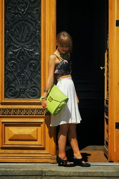 my berlin fashion: OUTFITPOST | WHITE SKIRT AND CROP TOP AT BERLIN FASHION WEEK