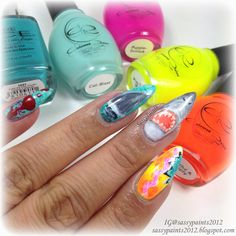 Sassy Paints: Shark Week Nail Art  @colouredraine @OfficialPureIce