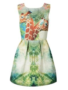 Multicolor Giraffe Print High Waist Sleeveless Vest Dress