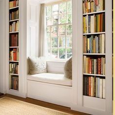 window seat in home office between built-in bookcases would be cute for living room windows Window Benches, Window Seats With Storage, Bay Window Seating, Corner Seating, Window Seat Cushions, Built In Bookcase, Bookcases, Office Bookshelves, Creative Bookshelves