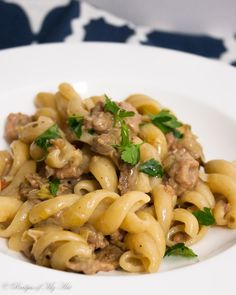 Pasta with Porcini Sausage and Leeks