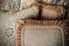 Pillows embellished with velvet and metallic pleated tape from the Stratford Collection by BRIMAR