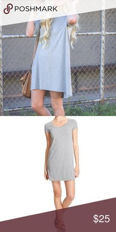 Mossimo Heather Gray Short Sleeve T-Shirt Dress Mossimo Classic Heather Grey TShirt Dress | T Shirt Dress in Gray  Short sleeves  Round neckline  Classic black  62% polyester, 33% rayon, 5% spandex  Machine wash cold Mossimo Supply Co Dresses Mini