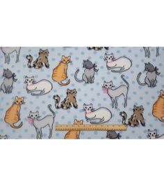 "Anti-Pill Fleece Fabric 59""-Sketched Kitty Bluenull"