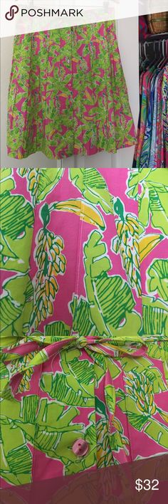 Lilly Pulitzer Skirt This adorable vibrant skirt is by Key West in size L. Lilly Pulitzer used Key West handprinted fabrics for many years. So this is very much like a Lilly. Buttons down front. Stitched pleating and a cute drawstring closure. Brand new. ❤️ Lilly Pulitzer Skirts Midi