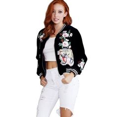 2016 fashion plus size embroidered velvet bomber jacket women Casual Coat tiger rose Outerwear Trendy Jacket jaqueta feminina
