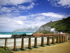 Outeniqua Choo-Tjoe Steam Train Crossing Dolphin Point, Near Wilderness, South Africa Train Route, By Train, Train Trip, The Places Youll Go, Places To See, Beautiful World, Beautiful Places, Wonderful Places, Travel Around The World