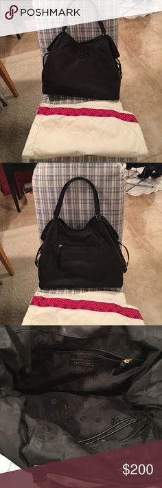Tory Burch Slouchy Nylon Tote Black, slouchy, barely worn nylon tote; comes with dust bag! Tory Burch Bags Totes