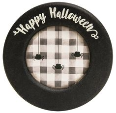 Happy Halloween Wood Plate with Spiders Farmhouse Primitive Decor 6 inch #HearthsideCollection #RusticPrimitive #Halloween Primitive Halloween Decor, Farmhouse Halloween, Halloween Home Decor, Halloween House, Happy Halloween, Halloween Decorations, Painting Pressed Wood, Wooden Plates, Bowl Fillers