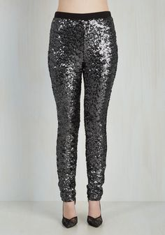 Hit the town 'stunning' in these striking skinnies from BB Dakota! Frosted with silver sequins supported by a black stretch knit, these high-waisted pants will have you raring to get out the door to show off their fab finesse.
