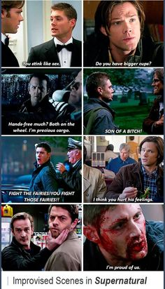 Improvised scenes ...the last one breaks my heart :'(  And the 4th last one...it was really funny ;) #SPN