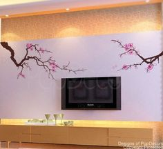 Custom Color PopDecors - Beautiful Plum Blossom - removable vinyl art wall decals stickers decal sticker mural by Pop Decors, http://www.amazon.com/dp/B008QFJEGW/ref=cm_sw_r_pi_dp_1B2Zrb0XYWJS9