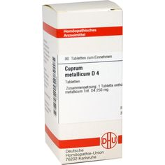CUPRUM METALLICUM D 4 Tabletten:   Packungsinhalt: 80 St Tabletten PZN: 01768306 Hersteller: DHU-Arzneimittel GmbH & Co. KG Preis: 5,95…