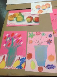 students working with still lives and pastels this week in our morning Creative Arts Program