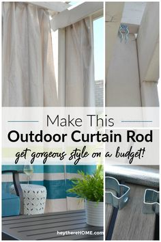 How to make an outdoor curtain rod for gorgeous style on a budget! How to make an outdoor curtain rod for gorgeous style on a budget! Outdoor Curtain Rods, Diy Curtain Rods, Outdoor Curtains, Porch Curtains, Burlap Curtains, Adirondack Furniture, Outdoor Furniture, Budget Patio, Outdoor Living
