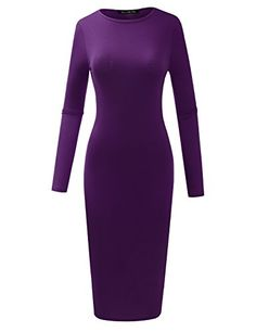 ALL FOR YOU Womens Slim Fit Crew Neck Long Sleeve Bodycon Midi Tunic Dress Eggplant XXLarge *** Find out more about the great product at the image link.